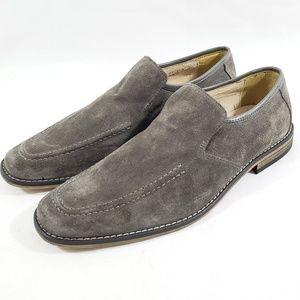 STACY ADAMS Men's Moc Toe Loafers Gray Suede 8.5